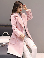 Women's Casual/Daily Simple Winter Fall Fur Coat,Solid Shirt Collar Long Sleeve Long Faux Fur