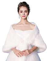 Sleeveless Faux Fur Wedding Party / Evening Women's Wrap With Smooth Lace-up Shawls