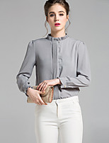 cheap -Women's Daily Sophisticated Shirt,Solid Stand Long Sleeves Polyester
