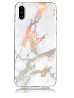 billiga -fodral Till Apple iPhone X / iPhone 8 IMD / Mönster Skal Marmor Mjukt TPU för iPhone X / iPhone 8 Plus / iPhone 8