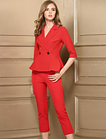 Baoyan Women's Casual/Daily Simple Fall Set Pant Suits,Solid V Neck Half Sleeves Peplum Polyester Micro-elastic