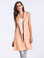 cheap -Women's Work To-Go Simple Casual Street chic Spring Fall Vest,Solid Shirt Collar Sleeveless Long Cotton Polyester