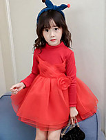 Girl's Daily Going out Patchwork Dress,Rayon Polyester Winter Fall Long Sleeves Street chic Princess Black Red