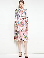 Недорогие -Для женщин Для вечеринок На выход На каждый день Очаровательный Богемный Уличный стиль Русалка Платье Цветочный принт,Круглый вырез