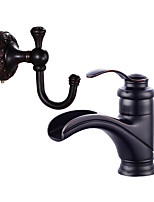 Centerset Ceramic Valve Black , Bathroom Sink Faucet