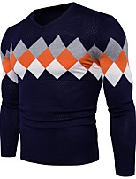 Недорогие -Для мужчин На каждый день Офис Обычный Пуловер Полоски,V-образный вырез Длинный рукав Полиэстер Зима Толстая Слабоэластичная