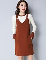 Mujer Simple Casual/Diario Invierno Pulóveres Vestidos Trajes,Escote Redondo Un Color Manga Larga Algodón