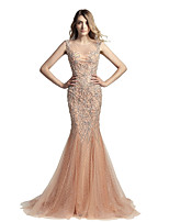 Mermaid / Trumpet Jewel Neck Court Train Tulle Prom Formal Evening Dress with Beading by Sarahbridal