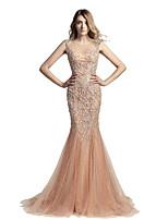 A sirena Con decorazione gioiello Strascico di corte Tulle Graduazione Serata formale Vestito con Perline di Sarahbridal