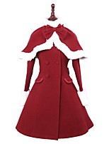 cheap -Winter Sweet Lolita Cape Coat Princess Wool Women's Adults' Girls' Coat Cosplay Red Long Sleeves
