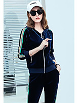 Women's Running T-Shirt with Pants Long Sleeves Tracksuit for Running/Jogging Polyester Mineral Green Brown Dark Blue Black 3XL XXL XL L M