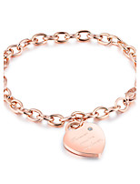 Women's Chain Bracelet AAA Cubic Zirconia Adorable Elegant Titanium Steel Rose Gold Plated Heart Jewelry For Wedding Party