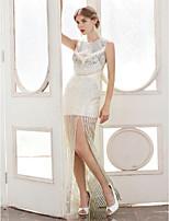 Fourreau / Colonne Bijoux Longueur Sol Satin Pailleté Soirée Formel Robe avec Paillettes Plissé par TS Couture®
