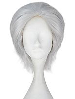 Men Unisex 33cm Short Straight Hair Synthetic Sliver Gray Color Wig Halloween Cosplay Costume Role play Wigs