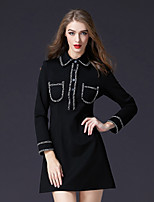 Women's Party Work Casual Active A Line Little Black Kaftan Dress,Solid Shirt Collar Above Knee Long Sleeve Cotton Nylon Elastane Winter
