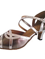 Women's Latin Leatherette Sandal Indoor Customized Heel Silver Gray