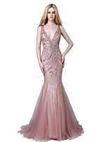 Mermaid / Trumpet V-neck Court Train Tulle Prom Formal Evening Dress with Beading by Sarahbridal