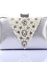 Women Bags Polyester Evening Bag Crystal Detailing Pearl Detailing for Wedding Event/Party All Season Gold Black Silver