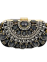 Women Bags Polyester Evening Bag Beading Crystal Detailing for Wedding Event/Party All Season Black