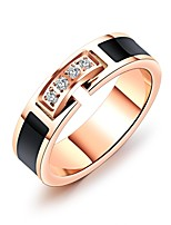Women's Band Rings Rhinestone Classic Elegant Titanium Steel Rose Gold Plated Circle Jewelry For Wedding Party