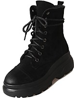 cheap -Women's Shoes PU Winter Fall Combat Boots Boots Flat Heel Round Toe Mid-Calf Boots For Casual Black