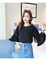 Women's Others Street chic Autumn Blouse,Solid Round Neck Long Sleeves Cotton