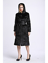 BF-Fur Style Women's Casual/Daily Sophisticated Fall Winter Fur Coat,Solid Hooded Long Sleeves Long Rabbit Fur