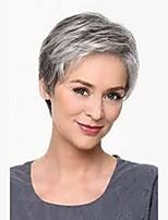 preiswerte -Damen Menschliches Haar Capless Perücken Natürlich Schwarz Medium Auburn Schwarzgrau Strawberry Blonde / Hellblond Kurz Natürlich gewellt