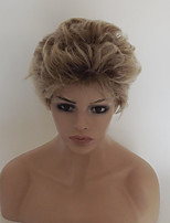 Women Synthetic Wig Capless Short Curly Light golden Ombre Hair With Bangs Party Wig Natural Wigs Costume Wig