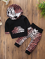 cheap -Girls' Animal Print Color Block Clothing Set,Cotton Polyester Spring Fall Long Sleeve Cute Active Black