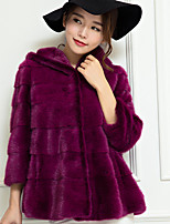 Women's Casual/Daily Club Simple Sexy Fall Winter Fur Coat,Solid V Neck Long Sleeves Regular Cashmere Cotton Polyester