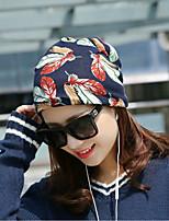 Недорогие -Для женщин На каждый день Широкополая шляпа,Весна, осень, зима, лето Хлопок Листья Рисунок Синий Пурпурный