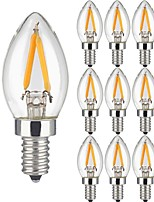 10 Pièces 2W Ampoules à Filament LED 2 diodes électroluminescentes COB Blanc Chaud 150lm 3000K AC 100-240V