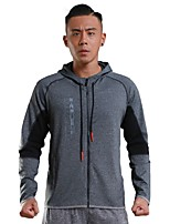Men's Running Jacket Long Sleeves Quick Dry Hoodie for Running/Jogging Fitness Polyster Black Grey S M L XL XXL