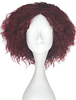 cheap -Men Adult Short Kinky Curly Hair Unisex Burgundy Color Wig Movie Role Play Hair Cosplay Wigs Halloween