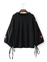 Women's Going out Casual/Daily Sexy Simple Street chic Spring Fall Blouse,Solid Floral Round Neck Long Sleeves Cotton Others Thin Medium