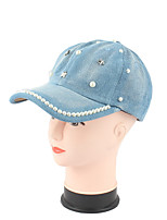 cheap -Women's Cotton Polyester Baseball Cap Sun Hat,Party Casual Solid Pearl Summer Fall Pure Color Light Blue Navy Blue Blue