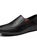 Hombre Zapatos PU Primavera Otoño Confort Mocasín Zapatos de taco bajo y Slip-On Para Casual Negro Marrón Morrón Oscuro
