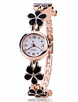 cheap -Women's Bracelet Watch Quartz Alloy Band Flower Black White