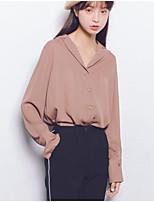 Women's Daily Going out Street chic Shirt,Solid Shirt Collar Long Sleeves Linen