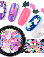 cheap -1 Box Pink Unicorn Nail Sequins AB Color Iridescent Flakes Glitter Nail Art Decoration Manicure DIY Tips