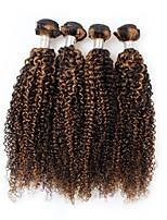 economico -4 pezzi Nero / Marrone chiaro Riccio Peruviano Tessiture capelli umani Extensions per capelli