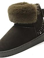 preiswerte -Damen Schuhe PU Winter Komfort Schneestiefel Flaum Futter Stiefel Runde Zehe Booties / Stiefeletten Für Normal Schwarz Grau Grün Rosa