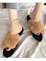 Недорогие -Для женщин Обувь Бархатистая отделка Весна Осень Удобная обувь Тапочки и Шлепанцы Для прогулок Плоские Открытый мыс Пух для Повседневные