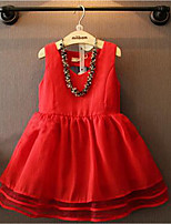 Girl's Solid Dress,Cotton Summer Sleeveless Cute Princess Red