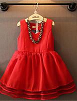 cheap -Girl's Solid Dress,Cotton Summer Sleeveless Cute Princess Red