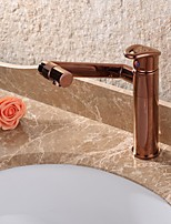 cheap -Contemporary Deck Mounted Rotatable Ceramic Valve Single Handle One Hole Rose Gold , Bathroom Sink Faucet