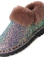 abordables -Mujer Zapatos Lentejuelas Invierno Botas de nieve Botas Tacón Plano Dedo redondo Mitad de Gemelo Lentejuela Para Casual Negro Azul