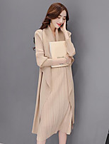 Women's Daily Casual Fall Blouse Dress Suits,Solid Shirt Collar Long Sleeves Polyester