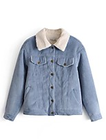 cheap -Women's Daily Simple Casual Winter Fall Denim Jacket,Solid Shirt Collar Long Sleeve Short Cotton Pleated